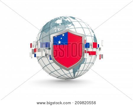 Globe And Shield With Flag Of Samoa Isolated On White