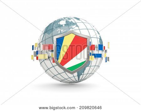 Globe And Shield With Flag Of Seychelles Isolated On White