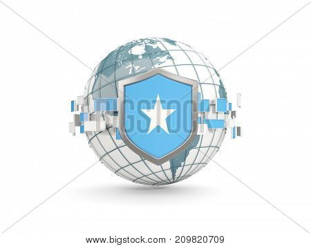 Globe And Shield With Flag Of Somalia Isolated On White