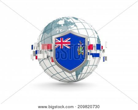Globe And Shield With Flag Of South Georgia And The South Sandwich Islands Isolated On White