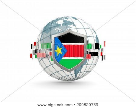 Globe And Shield With Flag Of South Sudan Isolated On White
