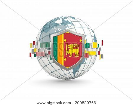 Globe And Shield With Flag Of Sri Lanka Isolated On White