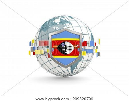 Globe And Shield With Flag Of Swaziland Isolated On White