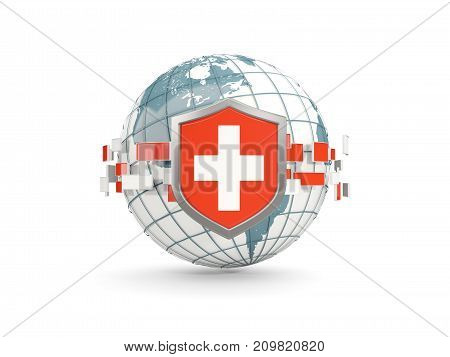 Globe And Shield With Flag Of Switzerland Isolated On White