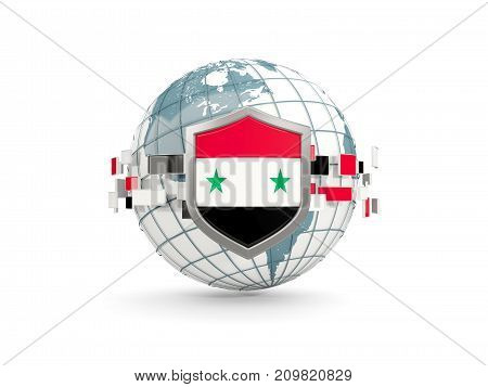 Globe And Shield With Flag Of Syria Isolated On White