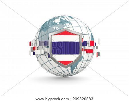Globe And Shield With Flag Of Thailand Isolated On White