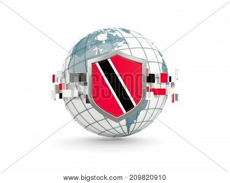 Globe And Shield With Flag Of Trinidad And Tobago Isolated On White
