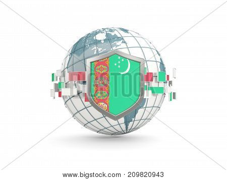 Globe And Shield With Flag Of Turkmenistan Isolated On White