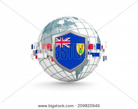 Globe And Shield With Flag Of Turks And Caicos Islands Isolated On White