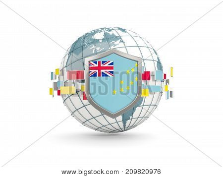 Globe And Shield With Flag Of Tuvalu Isolated On White