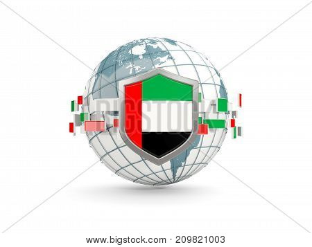 Globe And Shield With Flag Of United Arab Emirates Isolated On White