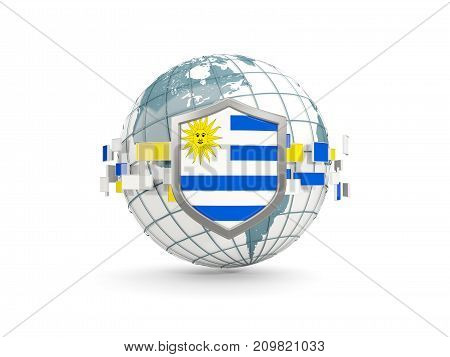 Globe And Shield With Flag Of Uruguay Isolated On White