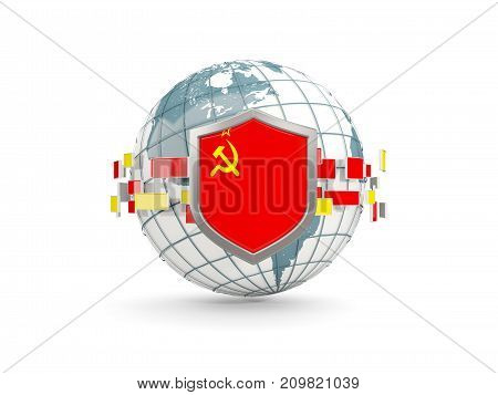 Globe And Shield With Flag Of Ussr Isolated On White