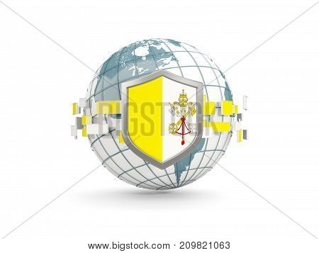 Globe And Shield With Flag Of Vatican City Isolated On White