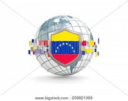 Globe And Shield With Flag Of Venezuela Isolated On White