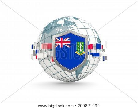 Globe And Shield With Flag Of Virgin Islands British Isolated On White
