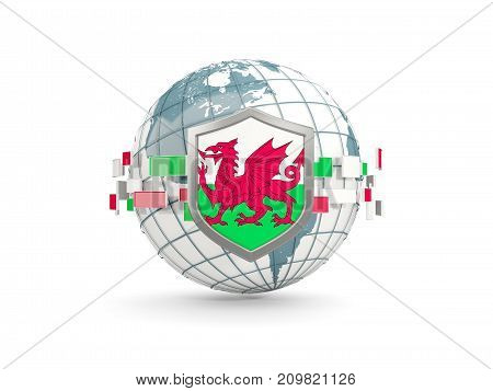 Globe And Shield With Flag Of Wales Isolated On White