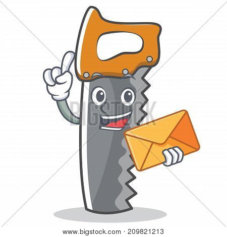 With envelope hand saw character cartoon vector illustration