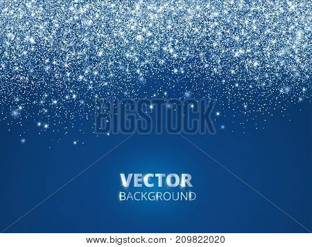 Falling glitter confetti, snow. Vector dust, explosion on blue background. Sparkling glitter border, frame. Great for wedding invitations, party posters, Christmas and birthday cards.
