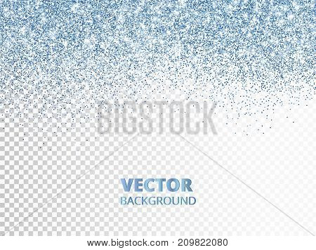 Falling glitter confetti. Blue vector dust, explosion isolated on transparent background. Sparkling glitter border, frame. Great for wedding invitations, party posters, Christmas and birthday cards.