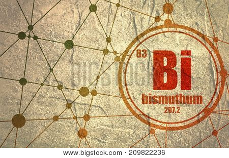 Bismuthum chemical element. Sign with atomic number and atomic weight. Chemical element of periodic table. Molecule And Communication Background. Connected lines with dots. Distress grunge texture