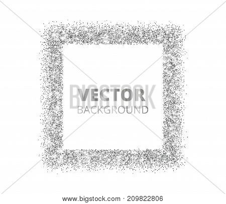 Festive silver sparkle background. Glitter border, rectangle spotted frame. Vector dust, diamonds on white. Great for valentine, christmas and birthday cards, wedding invitations, party posters.