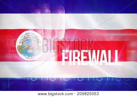 Firewall against blue technology design with binary code against costa rica 3D national flag