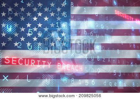 Digital security hand  scan against digitally generated american 3D national flag