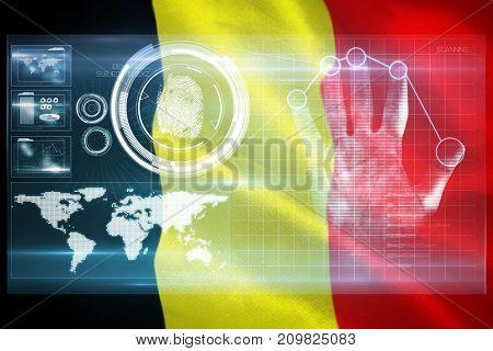 Digital security hand  scan against belgium 3D flag