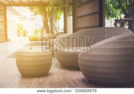 modern rattan sofa (rattan) in balcony .