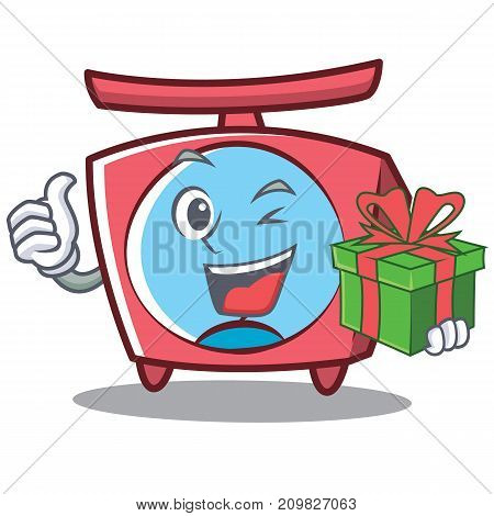 With gift scale character cartoon style vector illustration