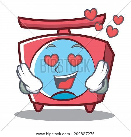 In love scale character cartoon style vector illustration