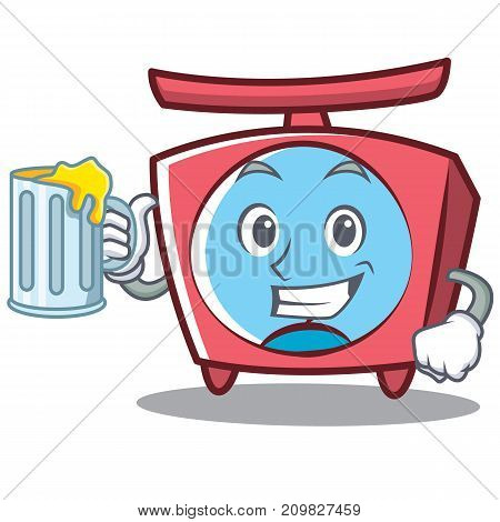 With juice scale character cartoon style vector illustration