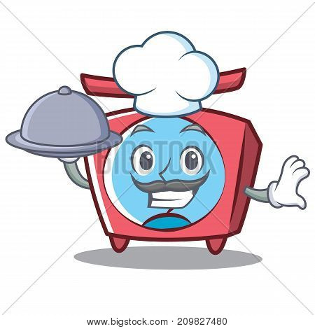 Chef scale character cartoon style vector illustration