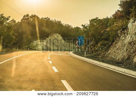 Highway road on the mountain, Montenegro.  This picture was taken in Montenegro.