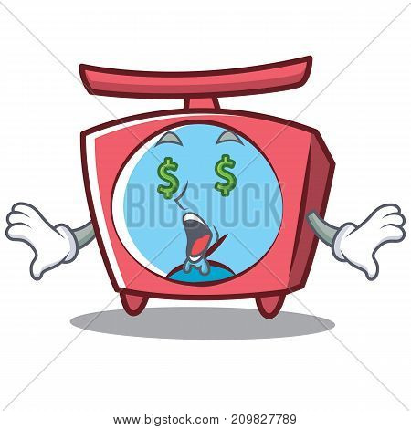 Money eye scale character cartoon style vector illustration
