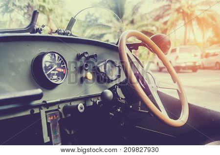 Console inside old car vintage style and sun light