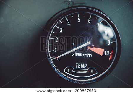 indicators of vintage car with vintage tone