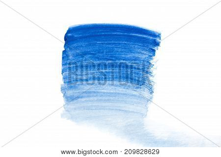 Bright Watercolor Blue Stain Drips. Abstract Illustration On A White Background. Banner For Text, Gr