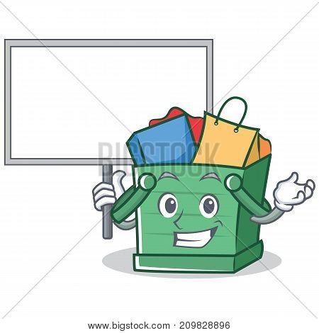 Bring board shopping basket character cartoon vector illustration