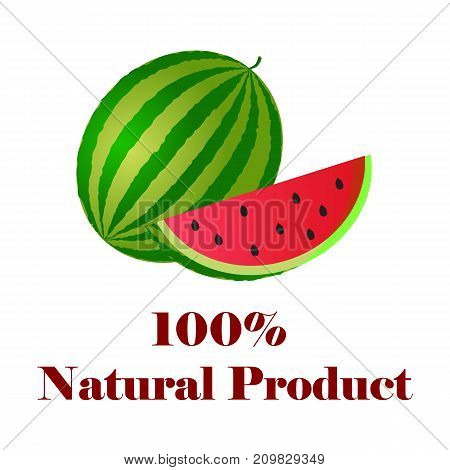 100 percent natural product watermelon on white background