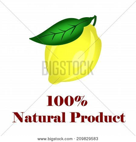 100 percent natural product lemon on white background