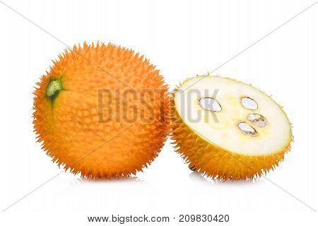 baby jackfruitgac fruit with slice isolated on white background