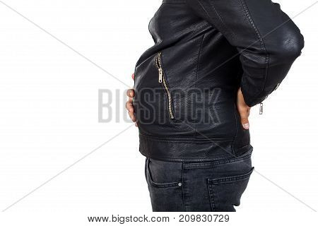Close up picture of a man big belly on isolated background