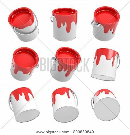 3d rendering of several paint buckets with leaking red paint in different angles on a white background. Arts supplies. Renovation equipment. Interior redesign tools.