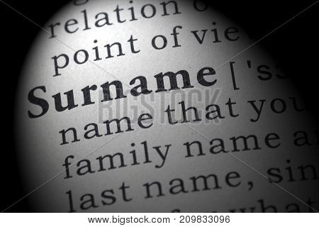 Fake Dictionary Dictionary Definition Of The Word Surname. Including Key Descriptive Words.