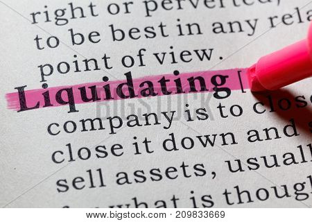 Fake Dictionary Dictionary Definition Of The Word Liquidating. Including Key Descriptive Words.