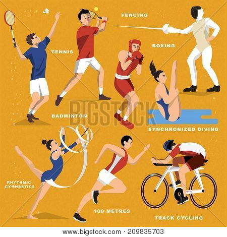 Game event sports in flat style, badminton, boxing, race, tennis, diving, cycling, running, rhythmic, fencing