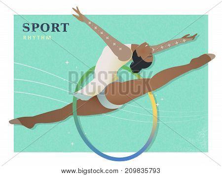 Rhythmic gymnastics - summer game event in flat style poster