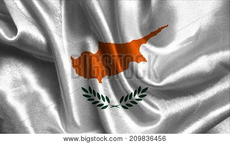 Realistic flag of Cyprus on the wavy surface of fabric. This flag can be used in design.